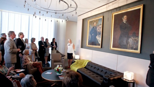 NPG Director Kim Sajet talks about Buchser's paintings at the Ambassador's Residence.