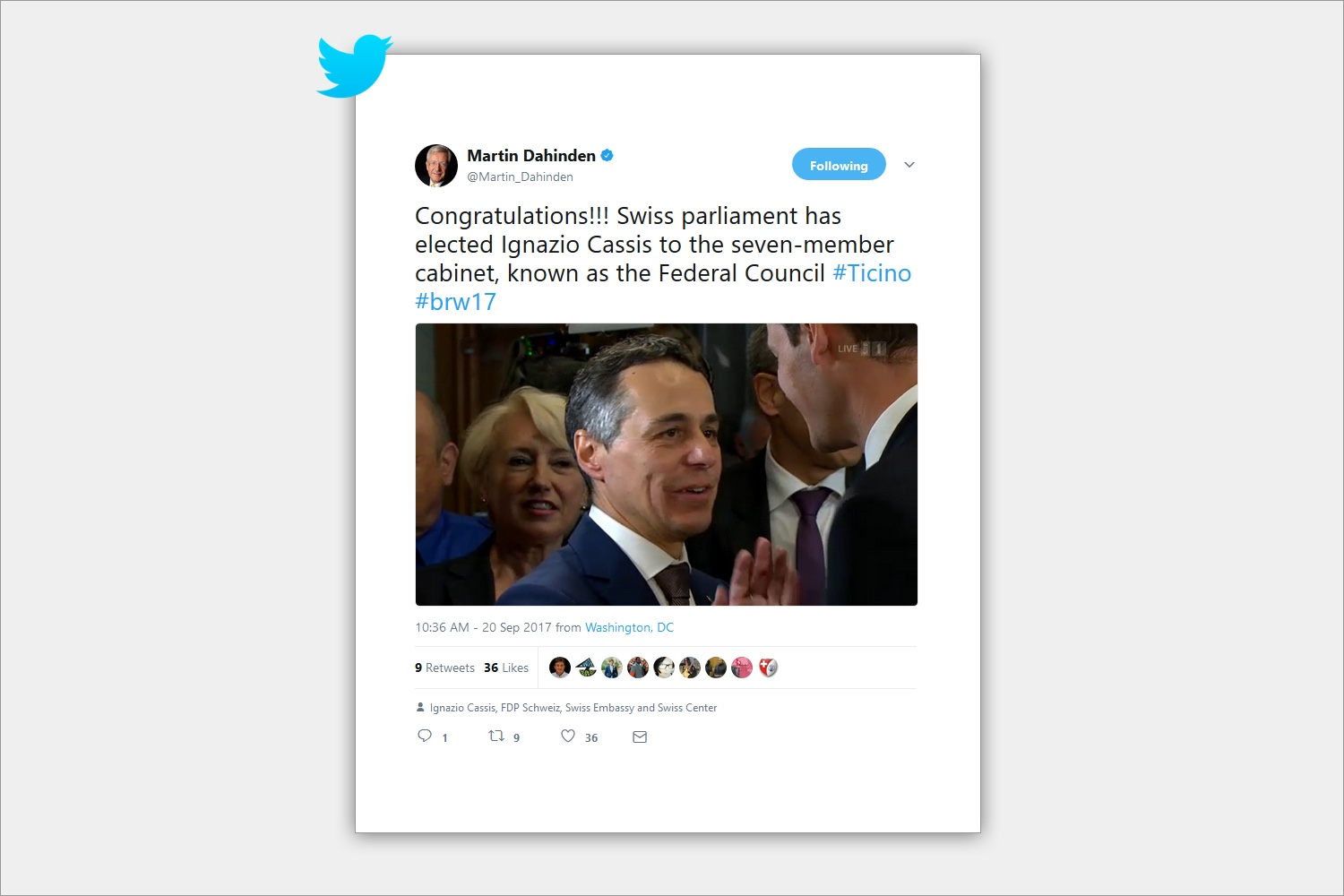 Amb. Martin Dahinden congratulates elected Federal Councillor Ignazio Cassis on Twitter.  © Twitter
